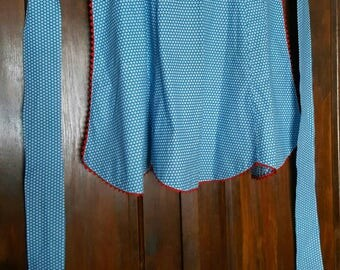 Vintage Hand Made Blue and White Floral Cotton Apron with Red Rickrack Trim 1950s   D611
