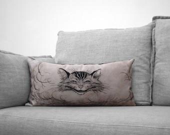 """cheshire cat // alice in wonderland - 12"""" x 24"""" velveteen pillow case - arthur rackham illustration, 1907"""