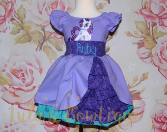 Inspired by My little Pony Rarity Dress, Birthday Party Dress, Inspired Little Pony Pageant Dress, photography prop
