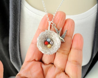 Sterling Silver nest ,swarovski pearl, birthstone birds nest, necklace ,swarovski pearl birthstone bird nest pendant