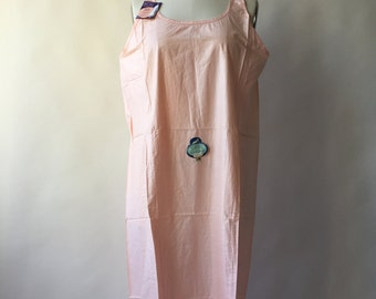 """30s plus size deadstock peach cotton pongee slip or nightgown / 52"""" bust / XXL / XXXL / new with tags"""