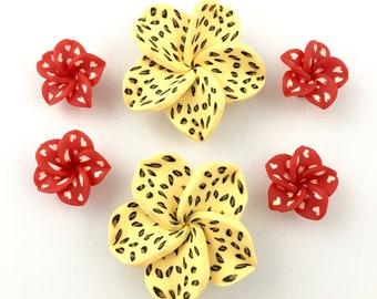 6 Polymer Clay handmade flower,20mm to 40mm ,FL001
