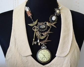 Bird necklace, Watch parts necklace, Steampunk necklace, Cool necklace, Clockworks necklace, OOAK necklace, Original necklace, Repurposed