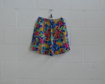 80s Sea Shore Shorts · Neon Shorts · 80s Beach Wear · Fish Print Shorts · Hipster Shorts · High Waisted Shorts · Abstract Printed Shorts ·M