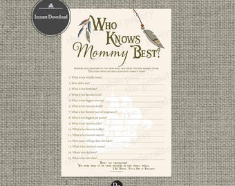 "Printable  ""Who Know Mommy Best"" Baby Shower Game 
