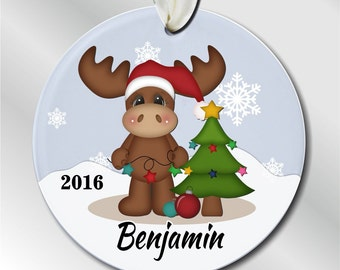 Outstanding Baby39S 2Nd Christmas Ornament Moose With By Oneofakindalways Easy Diy Christmas Decorations Tissureus