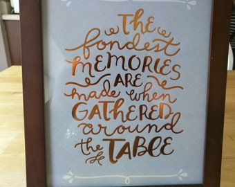 The fondest memory print and brown wooden frame