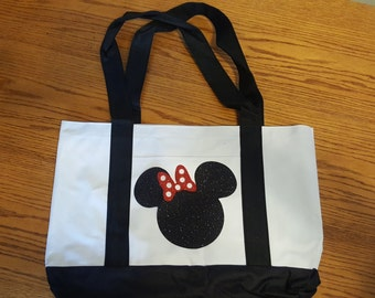 Disney Inspired Glitter Minnie Mouse Bag 12x18 inches/Purse/DisneyWorld/ Disney Land/Vacation/Glitter