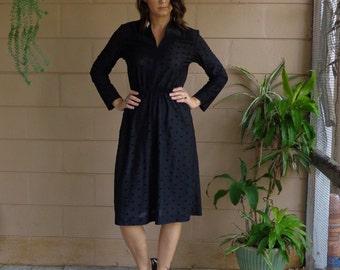 Vintage Black Dress / Swiss Dot / Long Sleeves / Full Skirt / Small Medium
