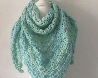 Handmade shawl seafoam green