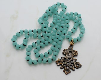 Beaded Ethiopian Cross Necklace, Convertible Necklace, Boho Rustic Cross Necklace, Hand-knotted Necklace, Crystal Necklace
