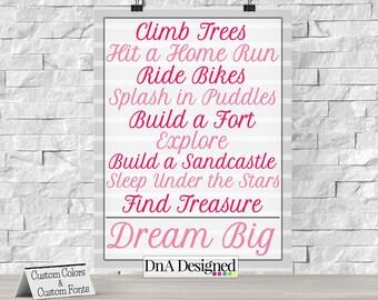 Printed Climb Trees, Hit a Home Run, Ride Bikes Print - Striped - Playroom Art - Nursery Decor - {46DP}