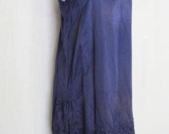 1920s Silk Slip Flapper Slip Silk Charmeuse  Roaring 20s Downtown Abbey  Navy Blue