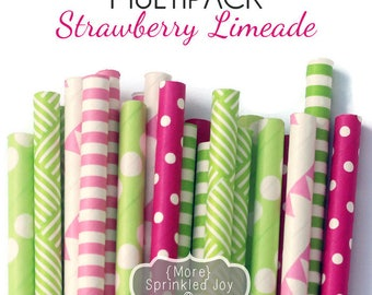 STRAWBERRY LIMEADE, Colorful Paper Straws, Multipack, Green, Pink, Lime, Stripe, Green and pink,Party, Girl, Dots, 25 Straws, 6 Designs