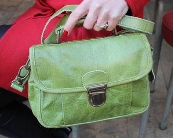Funky Bag Apple Green Leather Multi-compartment Mini Satchel
