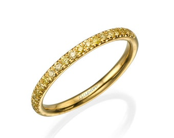 Yellow Diamonds Ring, Eternity Ring, Row Ring, Wedding Ring, Anniversary Ring, Promise Ring, Eternity Band, Wedding Band, Yellow Gold Ring