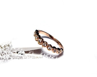 Gold-plated silver ring narrow size 57, sterling silver ring band rose gold plated US size 8.0