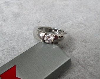 Solitaire ring silver zirconia Gr. 66, sterling silver ring Solitaire band zirconia US size 11.4 UK size X.