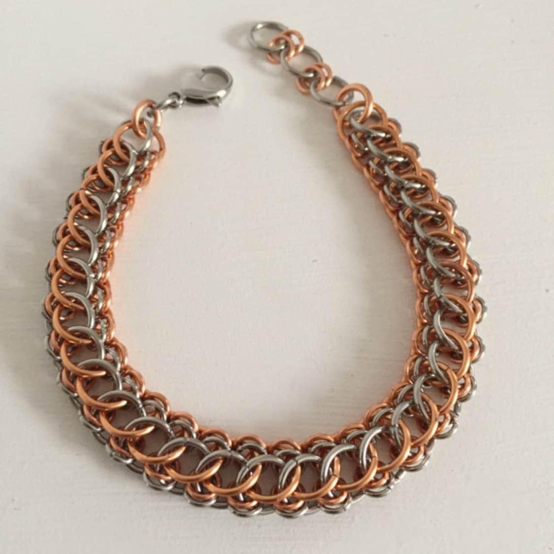 mens copper bracelet mens bracelet chainmaille half persian. Black Bedroom Furniture Sets. Home Design Ideas