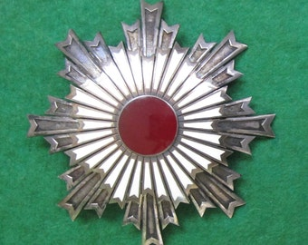 Imperial Japanese Order Of The Rising Sun 2nd Class Enameled Badge - WW II GI Souvenir - Free Shipping