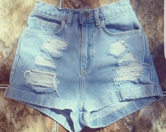 Extra Distressed High Waisted Cuffed Festival Denim Vintage Shorts