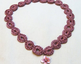 Pink Crochet Necklace With Flower Pendant