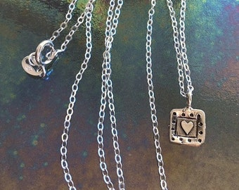 Small Sterling Silver Square Heart Charm Necklace - Little Artisan Silver Framed Heart Necklace