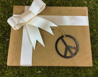 Peace Christmas Ornament Steel Ornament or Decoration - Recycled Metal