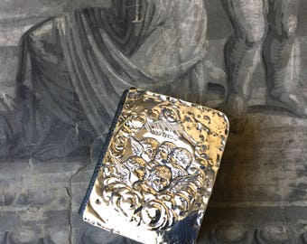 antique miniature sterling silver and leather prayer book, dated 1904