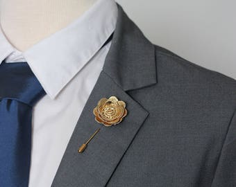 Gold Pocket square and gold flower lapel pin, Mens lapel flower Boutonniere,Lapel Flower pin, rose boutonniere, flower lapel pin, mens gift,