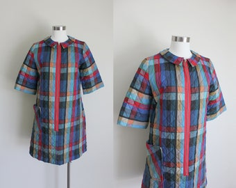 1960s Quilted Dress | House Dress | Shift Dress | Quilted Robe | Plaid Robe | Tartan Robe |