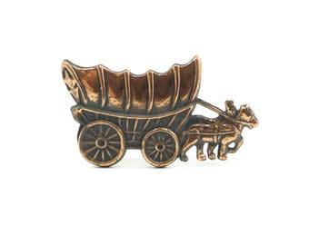Vintage Horse and Buggy Brooch, Copper
