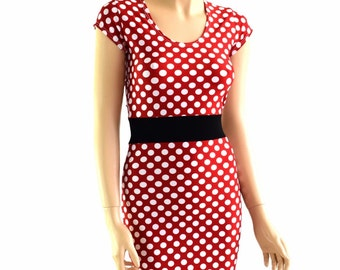 Red & White Polka Dot Cap Sleeve Dress in Bodycon Lycra Spandex with Black Soft Knit Waistband Minnie - 154201
