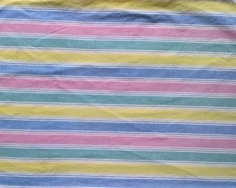 Vintage Pink Blue Yellow Green Stripe Print Pillowcase - 100% Cotton - Single One 1