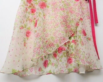 Light green and pink floral ballet wrap skirt-  Short