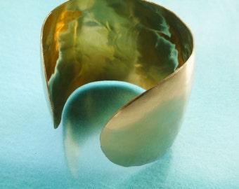 Large Gold Cuff, 14 K Gold Fill Cuff Bracelet, Brushed Gold Cuff Bracelet,  Hand Forged Bracelet, Handmade Gold Jewelry, Classic Cuff