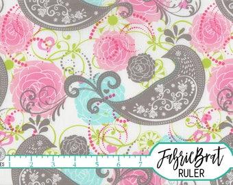 PINK AQUA Gray Paisley BIRD Fabric by the Yard Half Yard or Fat Quarter Floral Fabric Parakeet Quilt Fabric 100% Cotton Apparel Fabric a1-28