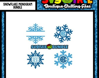 Snowflake Monogram SVG Snowflake SVG Snowflake Monogram Commercial Free Cricut Files Silhouette Files Digital Cut Files svg cuts