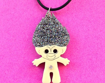 Troll Doll Necklace with Holographic Glitter Hair