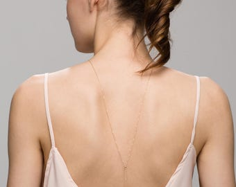 Mini Ball Back Necklace // Bridal Jewelry for Low Back Dress, Gold or Sterling silver Back Necklace  EL023