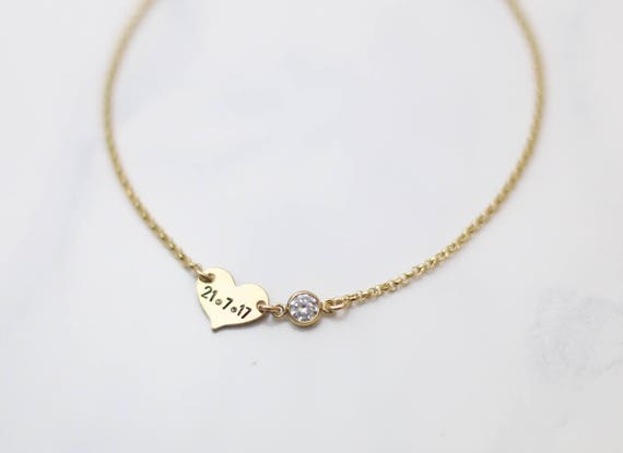 Small Wedding Date bracelet with Diamond CZ // Gift for Bride // Personalized Date Bracelet