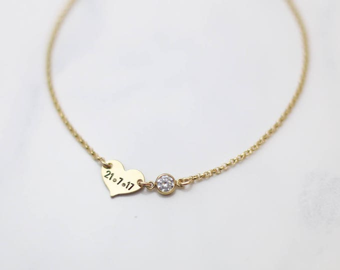 Wedding Date bracelet with Diamond CZ // personalized heart bracelet / Gift for Bride // Personalized Date Bracelet