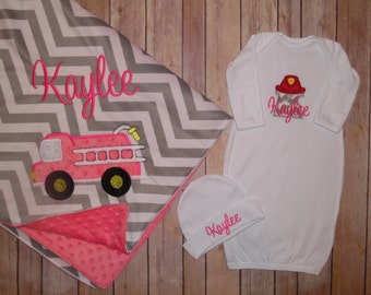 Personalized Gown - Fireman Hat - Perfect add-on to match any firetruck blanket, bib or burp cloth in the shop!