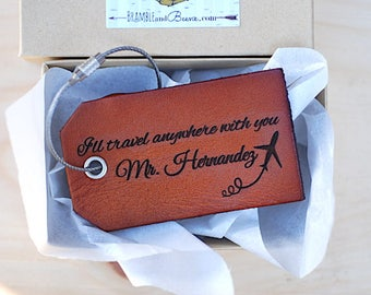 Travel Anniversary Gift, Personalized Baggage Tag, Custom Leather Tag, Gift for Him, Husband Gift, For boyfriend, Best Friend Guy Gift,