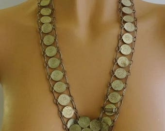 "Vintage Mid Century Coin Belt, Mexican Centavos, 1955, Coin Necklace, Silver Coins, Adjustable, 27"" or 29"" waist"
