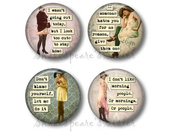 Sarcastic Women - Fridge Magnets - Morning Humor - Funny Magnets - 1.5 Inch Magnets - 4 Magnets - Kitchen Magnets