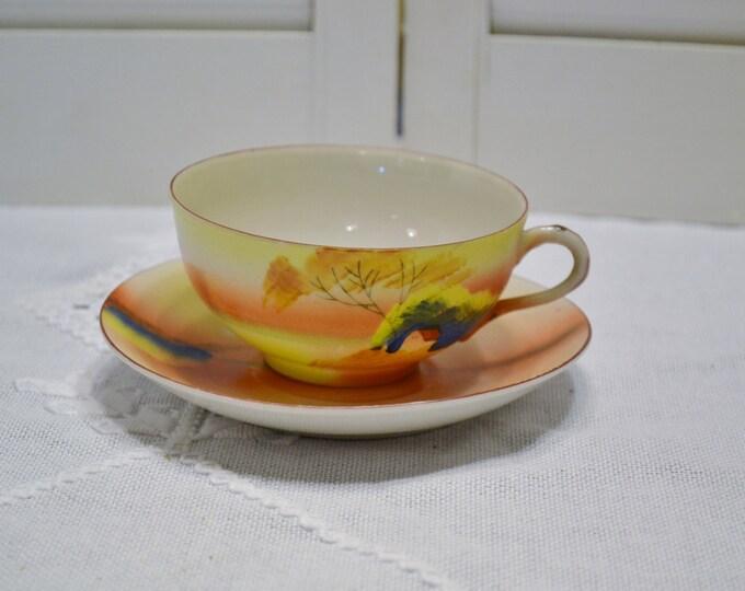 Vintage Porcelain Teacup Hand Painted Landscape TA Tea Party Collectible Wedding Bridal  Shower Japan Panchosporch