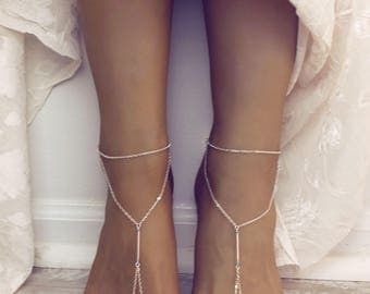 Silver Plated Barefoot Sandals Minimalist Jewelry Foot Jewelry Anklet Silver Chain Foot Chain Bohemian Sandals Gypsy Sandals Foot Thong
