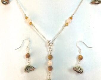 Hedgehog Necklace, Hedgehog Earrings, Hedgehog Jewelry, Tiger Eye Beads, Cherry Quartz Beads,  Hedgehogs Dangles, Matching Set,