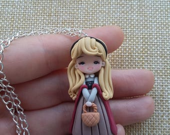 Preorder Sleeping beauty aurora disney necklace polymer clay creations